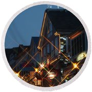 Round Beach Towel featuring the photograph Main Street Bar Harbor 2 by Living Color Photography Lorraine Lynch