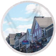Main Street Bar Harbor Maine Round Beach Towel by Living Color Photography Lorraine Lynch