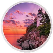 Round Beach Towel featuring the photograph Maine Bass Harbor Lighthouse Sunset by Ranjay Mitra
