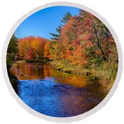 Maine Brook In Afternoon With Fall Color Reflection Round Beach Towel