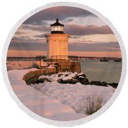 Round Beach Towel featuring the photograph Maine Bug Light Lighthouse Snow At Sunset by Ranjay Mitra