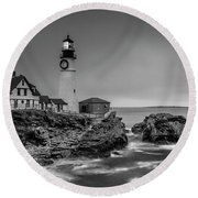 Maine Cape Elizabeth Lighthouse Aka Portland Headlight In Bw Round Beach Towel