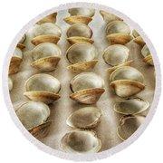 Maine Clam Shells Round Beach Towel