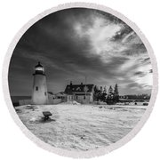 Maine Coastal Storm Over Pemaquid Lighthouse Round Beach Towel