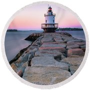 Maine Coastal Sunset Over The Spring Breakwater Lighthouse Round Beach Towel