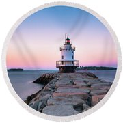 Round Beach Towel featuring the photograph Maine Coastal Sunset Over The Spring Breakwater Lighthouse by Ranjay Mitra
