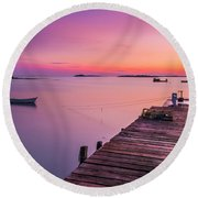 Maine Cooks Corner Lobster Shack At Sunset Round Beach Towel