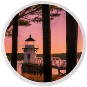 Maine Doubling Point Lighthouse At Sunset Panorama Round Beach Towel