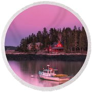 Maine Five Islands Coastal Sunset Round Beach Towel