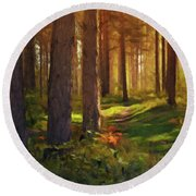 Round Beach Towel featuring the photograph Maine Forest Sunset by David Dehner