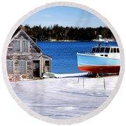 Maine Harbor Winter Scene Round Beach Towel