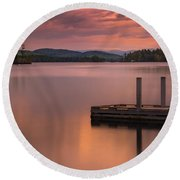 Maine Highland Lake Boat Ramp At Sunset Round Beach Towel