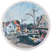 Round Beach Towel featuring the painting Maine Landscape Art by Robert Joyner