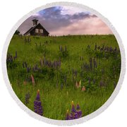 Maine Lupines And Home After Rain And Storm Round Beach Towel