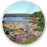 Maine Lupines Round Beach Towel