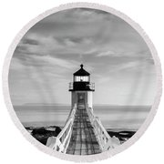 Maine Marshall Point Lighthouse Vertical Panorama In Black And White Round Beach Towel