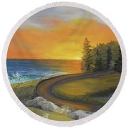 Maine Ocean Sunrise Round Beach Towel