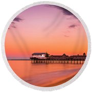 Maine Old Orchard Beach Pier At Sunset Round Beach Towel