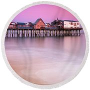 Maine Old Orchard Beach Pier Sunset  Round Beach Towel