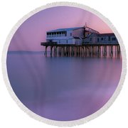 Maine Oob Pier At Sunset Panorama Round Beach Towel