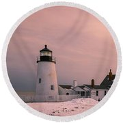 Maine Pemaquid Lighthouse After Winter Snow Storm Round Beach Towel