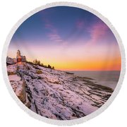 Maine Pemaquid Lighthouse In Winter Snow Round Beach Towel