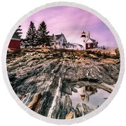 Maine Pemaquid Lighthouse Reflection In Summer Round Beach Towel by Ranjay Mitra