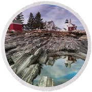 Maine Pemaquid Lighthouse Reflection Round Beach Towel by Ranjay Mitra