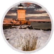 Maine Portland Bug Light Lighthouse Sunset  Round Beach Towel