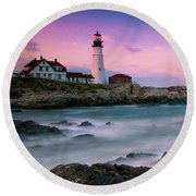 Maine Portland Headlight Lighthouse At Sunset Panorama Round Beach Towel
