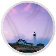 Maine Portland Headlight Lighthouse In Blue Hour Round Beach Towel