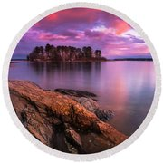 Maine Pound Of Tea Island Sunset At Freeport Round Beach Towel by Ranjay Mitra