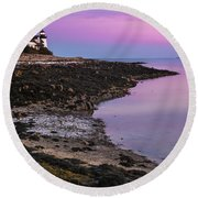 Maine Prospect Harbor Lighthouse Sunset In Winter Round Beach Towel