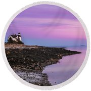 Round Beach Towel featuring the photograph Maine Prospect Harbor Lighthouse Sunset In Winter by Ranjay Mitra