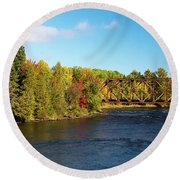 Round Beach Towel featuring the photograph Maine Rail Line by Sandy Molinaro