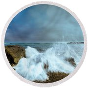 Maine Rocky Coast During Storm At Two Lights Round Beach Towel