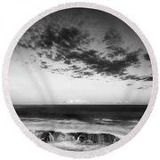 Maine Rocky Coast With Boulders And Clouds At Two Lights Park Round Beach Towel