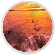 Maine Rocky Coastal Sunset At Kettle Cove Round Beach Towel