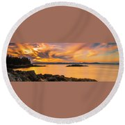 Maine Rocky Coastal Sunset In Penobscot Bay Panorama Round Beach Towel