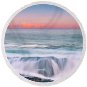 Maine Rocky Coastal Sunset Panorama Round Beach Towel