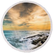 Maine Rocky Coastal Sunset Round Beach Towel