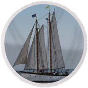 Maine Schooner Round Beach Towel