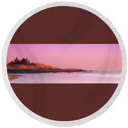 Maine Sheepscot River Bay With Cuckolds Lighthouse Sunset Panorama Round Beach Towel