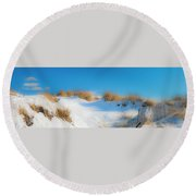 Maine Snow Dunes On Coast In Winter Panorama Round Beach Towel