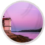 Maine Squirrel Point Lighthouse On Kennebec River Sunset Panorama Round Beach Towel