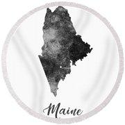 Maine State Map Art - Grunge Silhouette Round Beach Towel