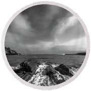 Maine Storm Clouds And Crashing Waves On Rocky Coast Round Beach Towel by Ranjay Mitra