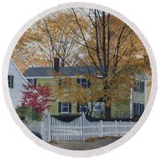 Autumn Day On Maine Street, Kennebunkport Round Beach Towel