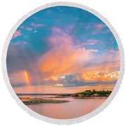 Maine Sunset - Rainbow Over Lands End Coast Round Beach Towel