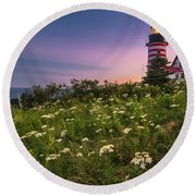 Maine West Quoddy Head Lighthouse Sunset Round Beach Towel